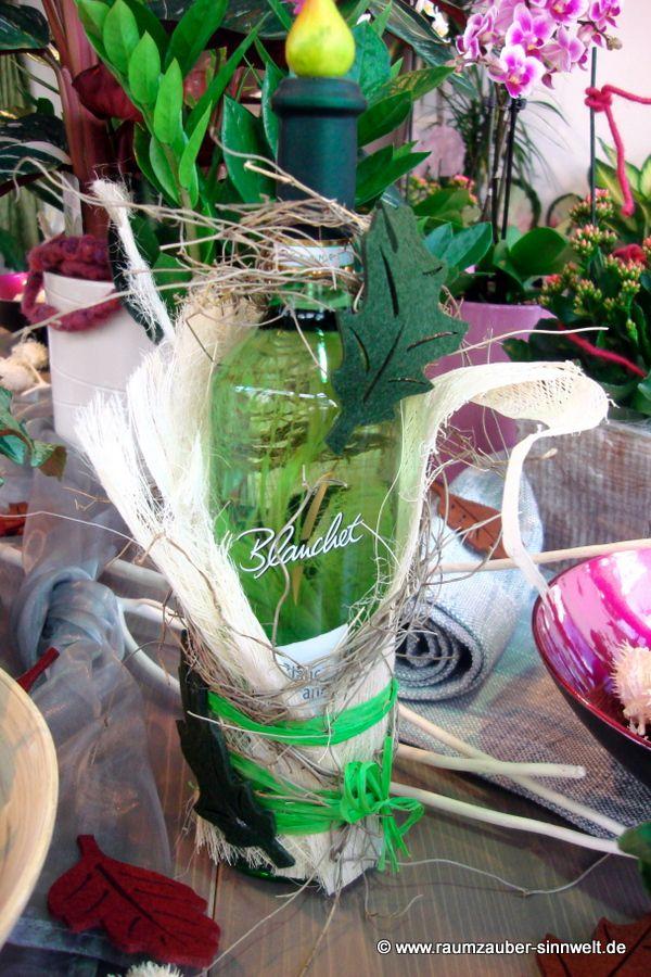 dekorierte Weinflasche