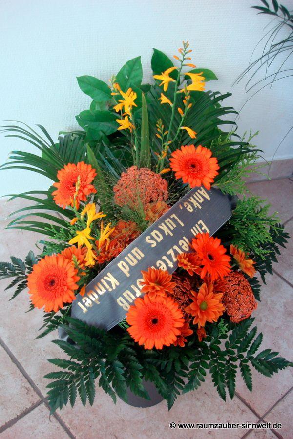 Trauerstrauß mit Gerbera, Dill und Montbretien