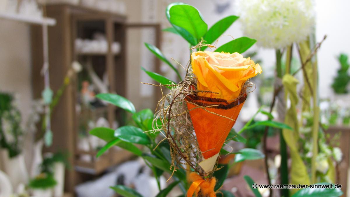 gefriergetrocknete Rose als Pflanzenstecker