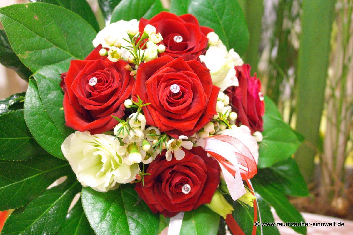 Pin Brautstrauss Rose Rot Oder Rose Creme Gruen Perlen Standesamt ...