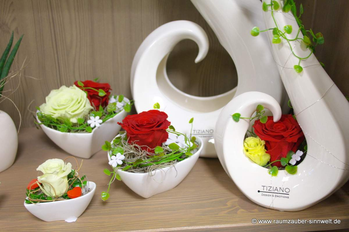 gefriergetrocknete Rosen in TIZIANO-Keramik