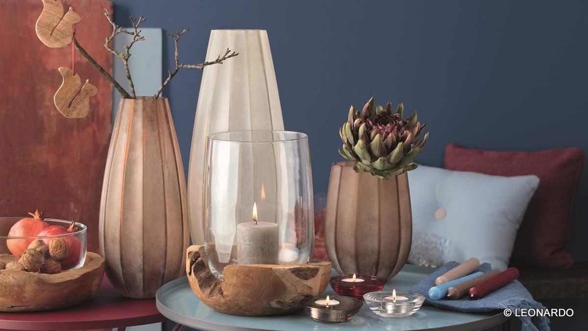 Windlicht mit Teaksockel und Tischlicht Castagna