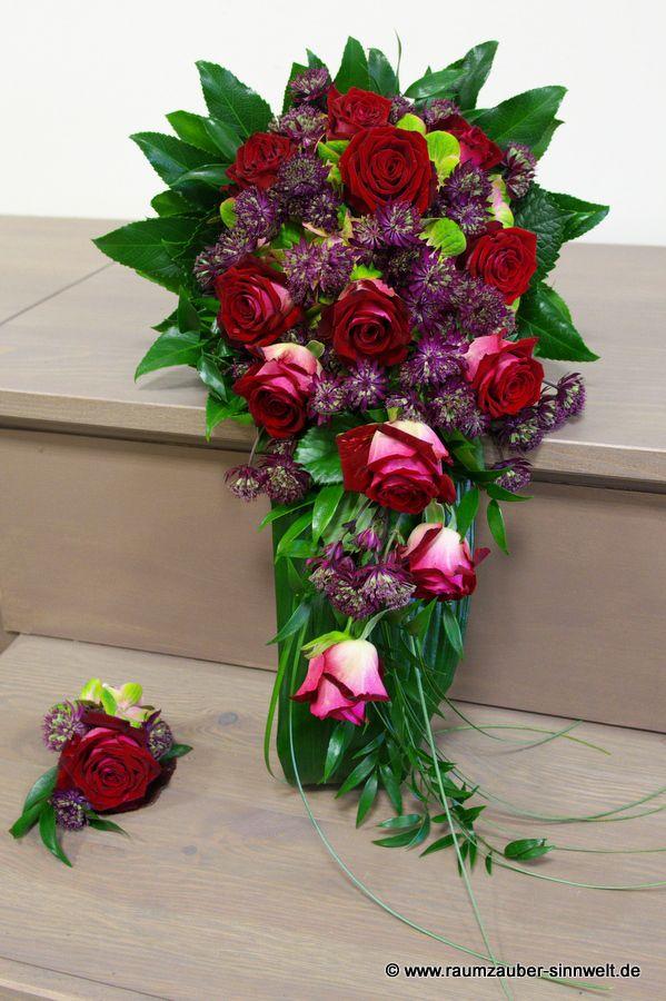 Brautstrauß und Herrenanstecker mit Rosen