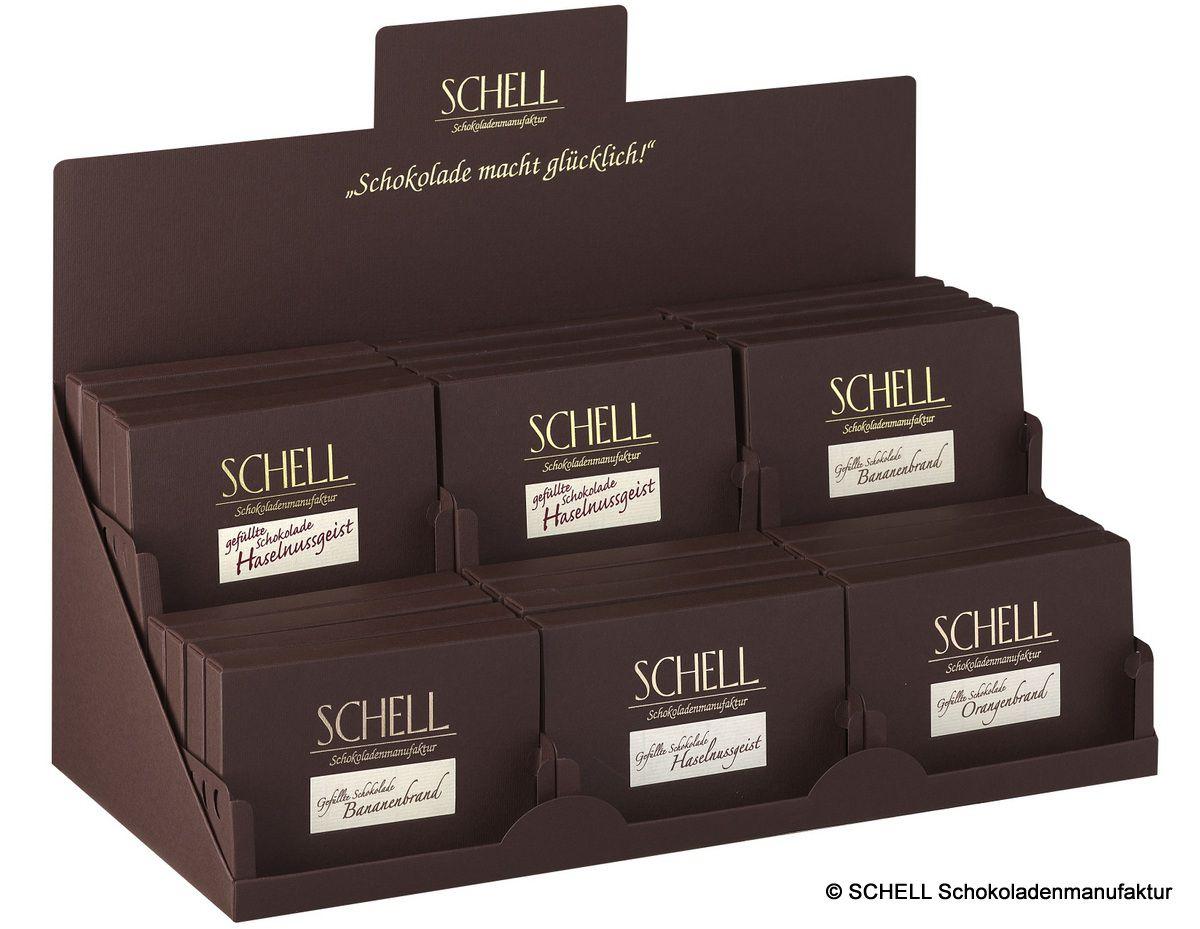 Achten Sie auf die Displays - gefüllte Schokoladen aus der SCHELL Schokoladenmanufaktur