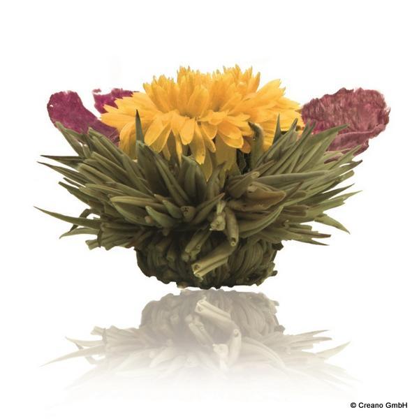 Goldkönigin - Silver-Needle mit Blüten der Ringelblume und Pfingstrose