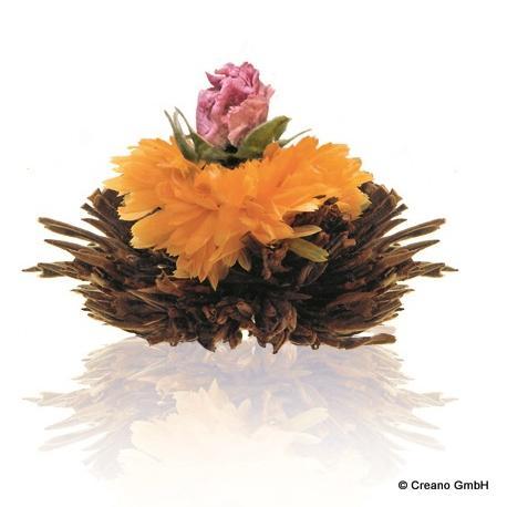 Purpur Schein - Silver Needle fermentiert mit Blüten der Ringelblume und Rose (Damascena)