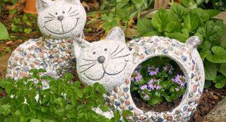 Dekofigur Katze und Pflanzkübel Katze Stones von formano