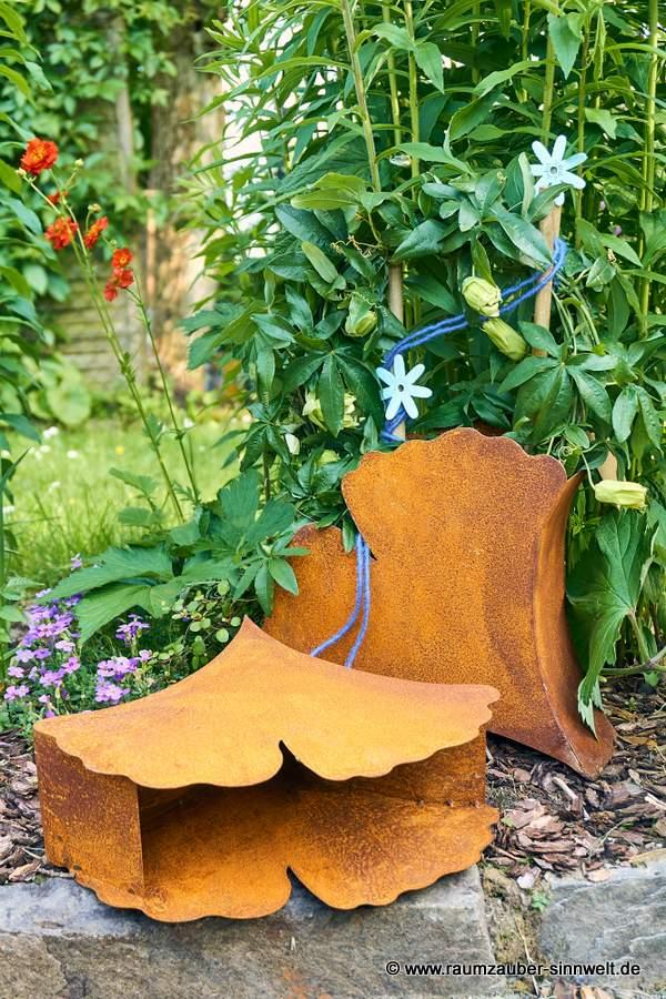 Gartendekoration Rostgefäß Gingko-Blatt
