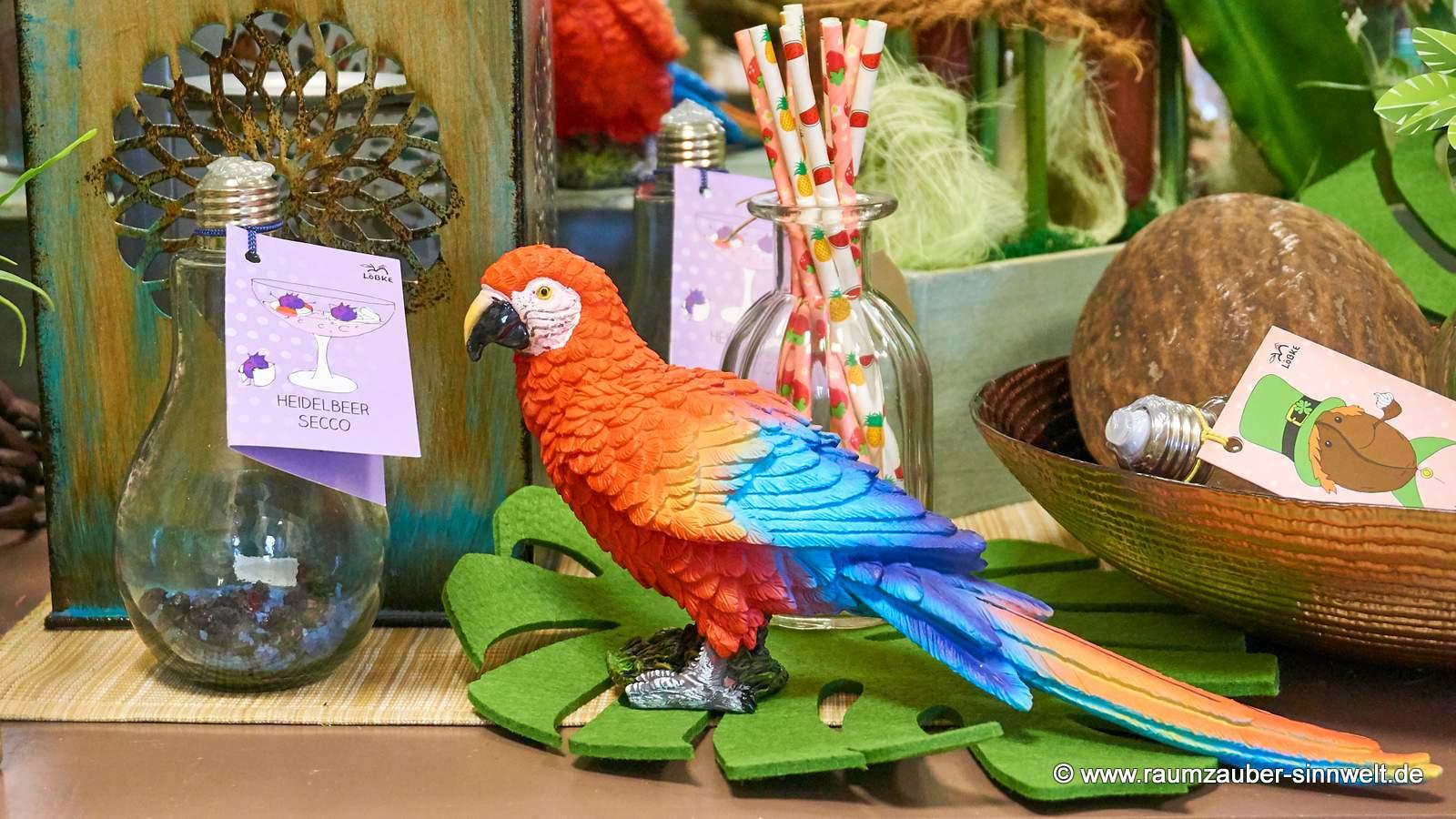 Keramik-Papagei mit Secco-Glühbirne Cocktailansatz