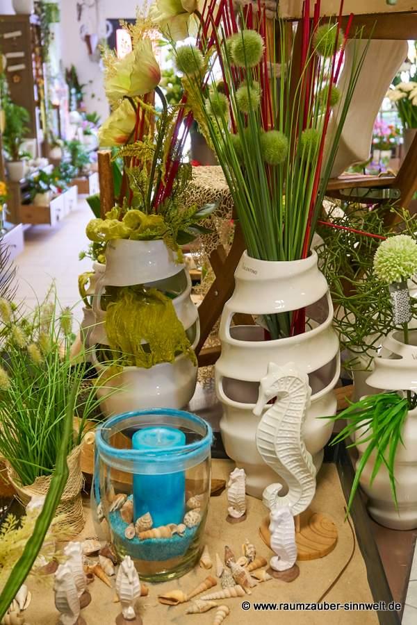 Valentino-Keramik, Keramik-Seepferdchen und Windlicht