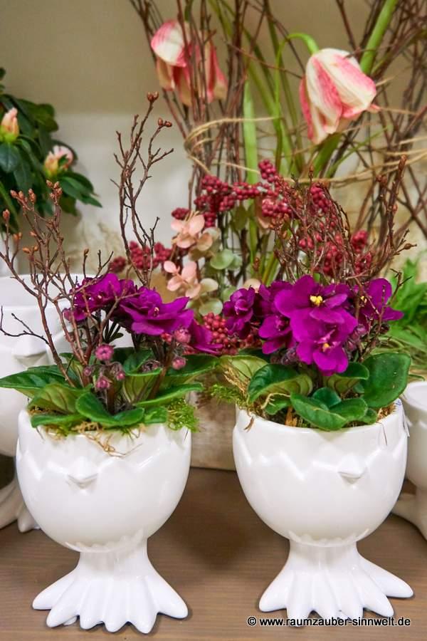 VALENTINO-Kübel Pucky bepflanzt mit Usambara-Veilchen
