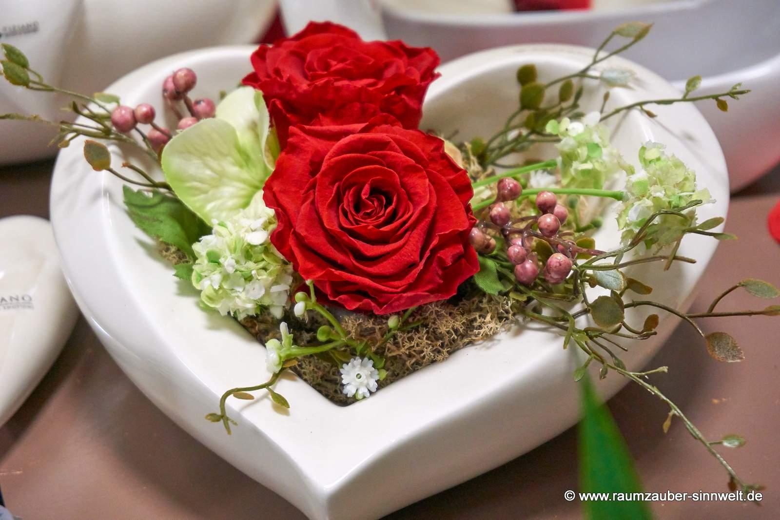 gefriergetrocknete Rosen in TIZIANO - Herz - Keramik Cuora