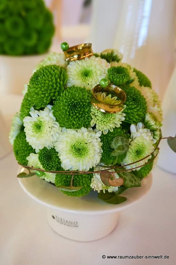 Ringkissen - Kugel mit weißen und grünen Santini