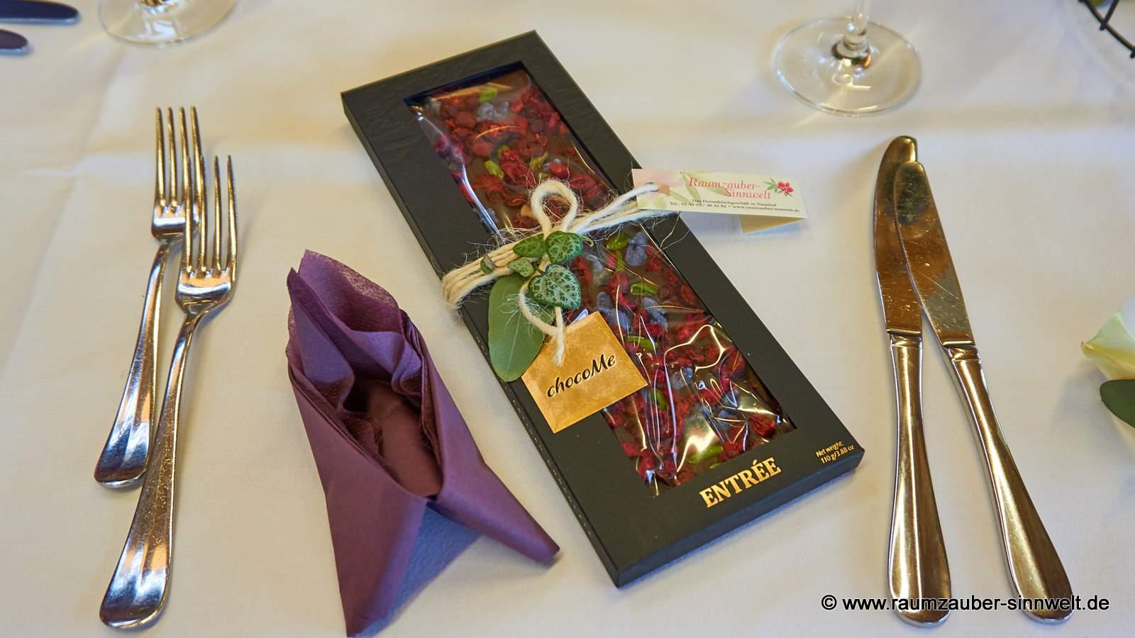 Schokolade von chocoMe als Gastgeschenk